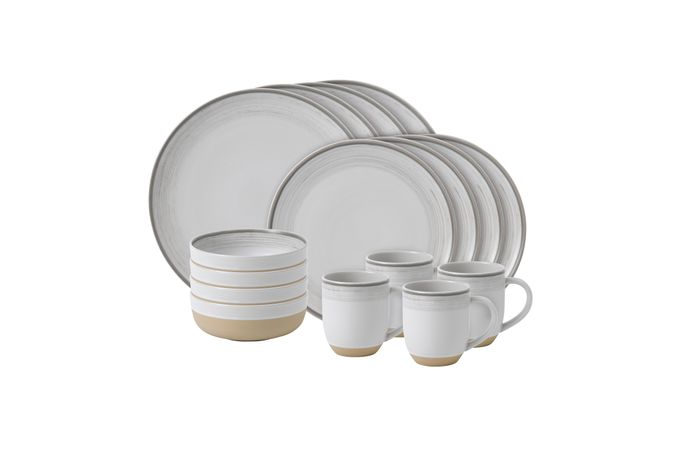 Ellen DeGeneres for Royal Doulton Brushed Glaze Sets 16 Piece Set White