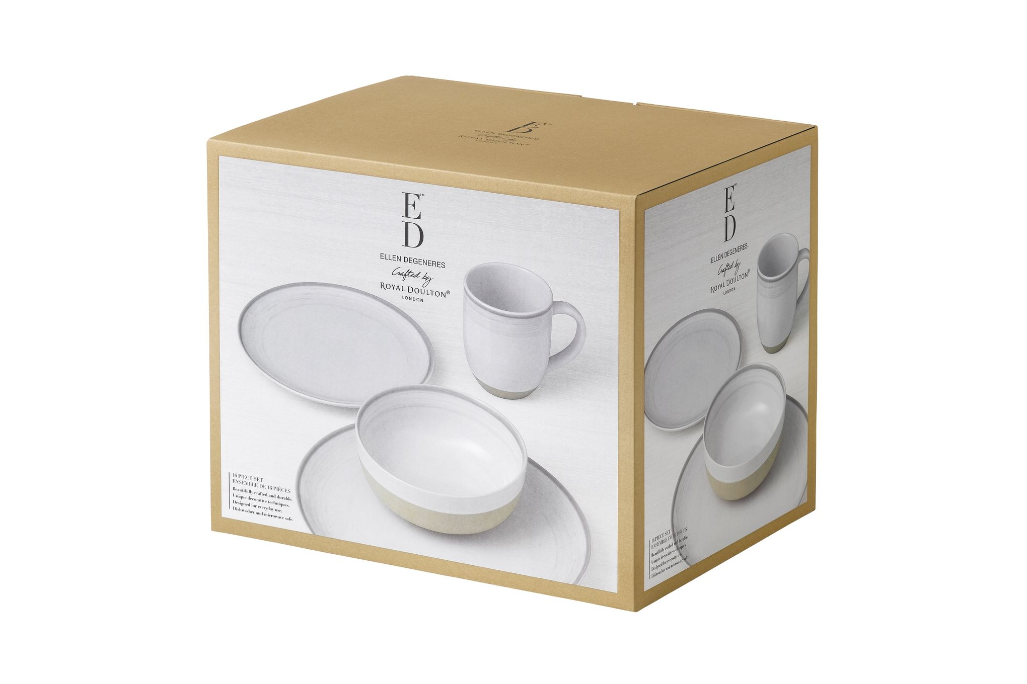 Ellen DeGeneres for Royal Doulton Brushed Glaze Sets 16 Piece Set White thumb 2