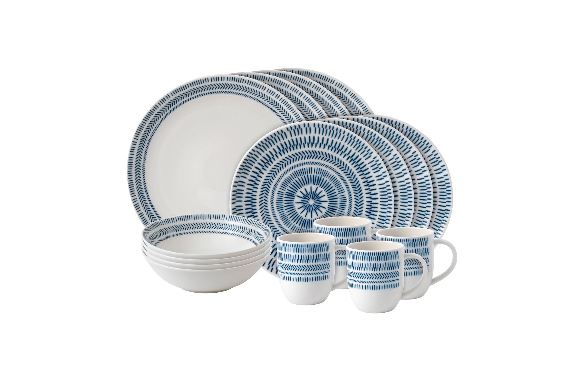 Ellen DeGeneres for Royal Doulton Dark Blue Chevron 16 Piece Set Dark Blue Chevron thumb 1