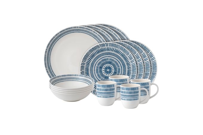 Ellen DeGeneres for Royal Doulton Dark Blue Chevron 16 Piece Set Dark Blue Chevron