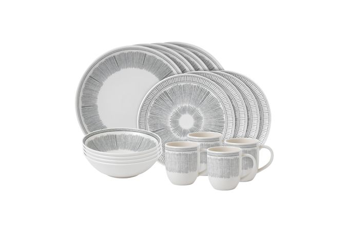 Ellen DeGeneres for Royal Doulton Grey lines 16 Piece Set Grey lines