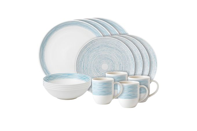 Ellen DeGeneres for Royal Doulton Polar Blue Dots 16 Piece Set