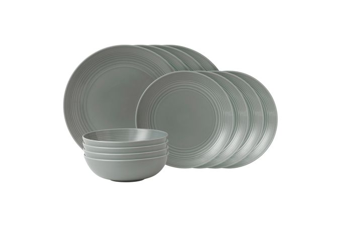 Gordon Ramsay for Royal Doulton Maze Dark Grey 12 Piece Set 4 x Plate 28cm, Plate 22cm, Bowl 18cm