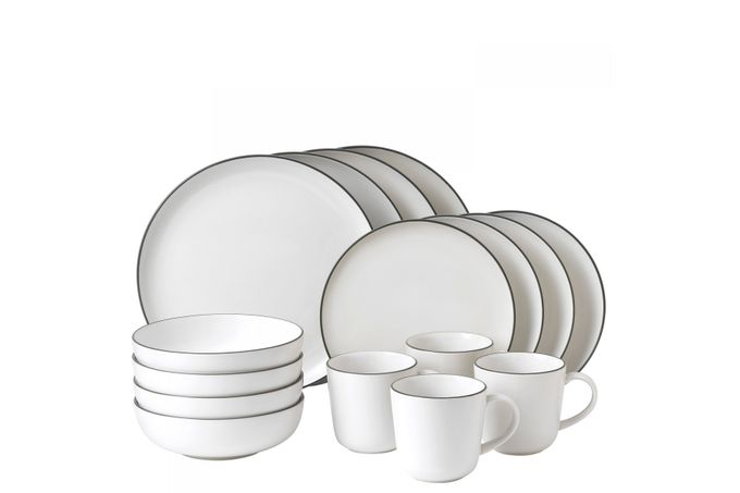 Gordon Ramsay for Royal Doulton Bread Street White 16 Piece Set 4 x Plate 28cm, Plate 22cm, Bowl 18cm, Mug