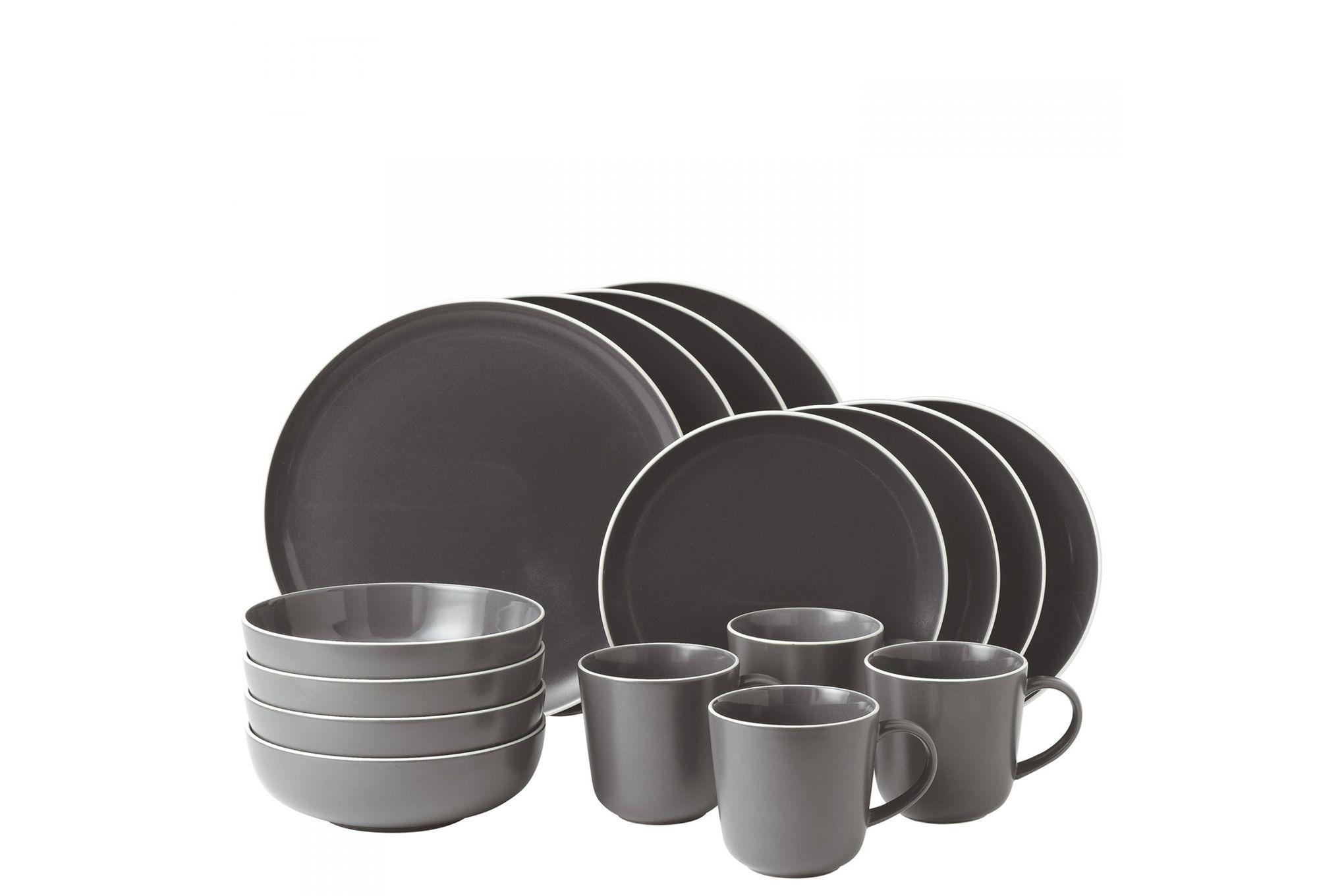 Gordon Ramsay for Royal Doulton Bread Street Slate 16 Piece Set 4 x Plate 28cm, Plate 22cm, Bowl 18cm, Mug thumb 1