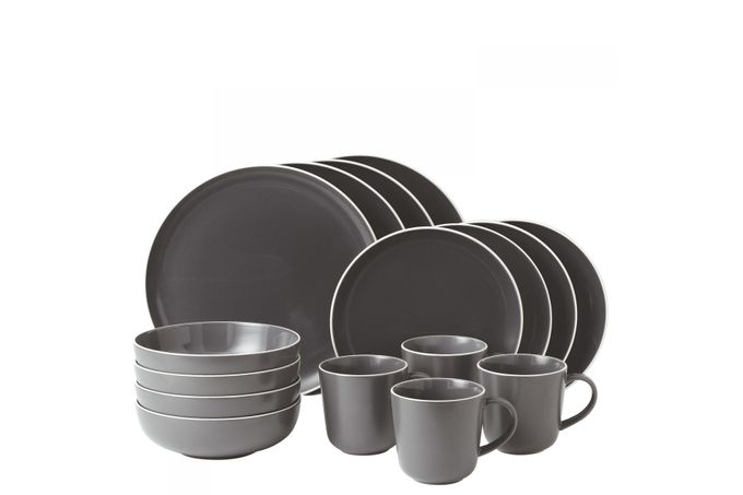 Gordon Ramsay for Royal Doulton Bread Street Slate 16 Piece Set 4 x Plate 28cm, Plate 22cm, Bowl 18cm, Mug