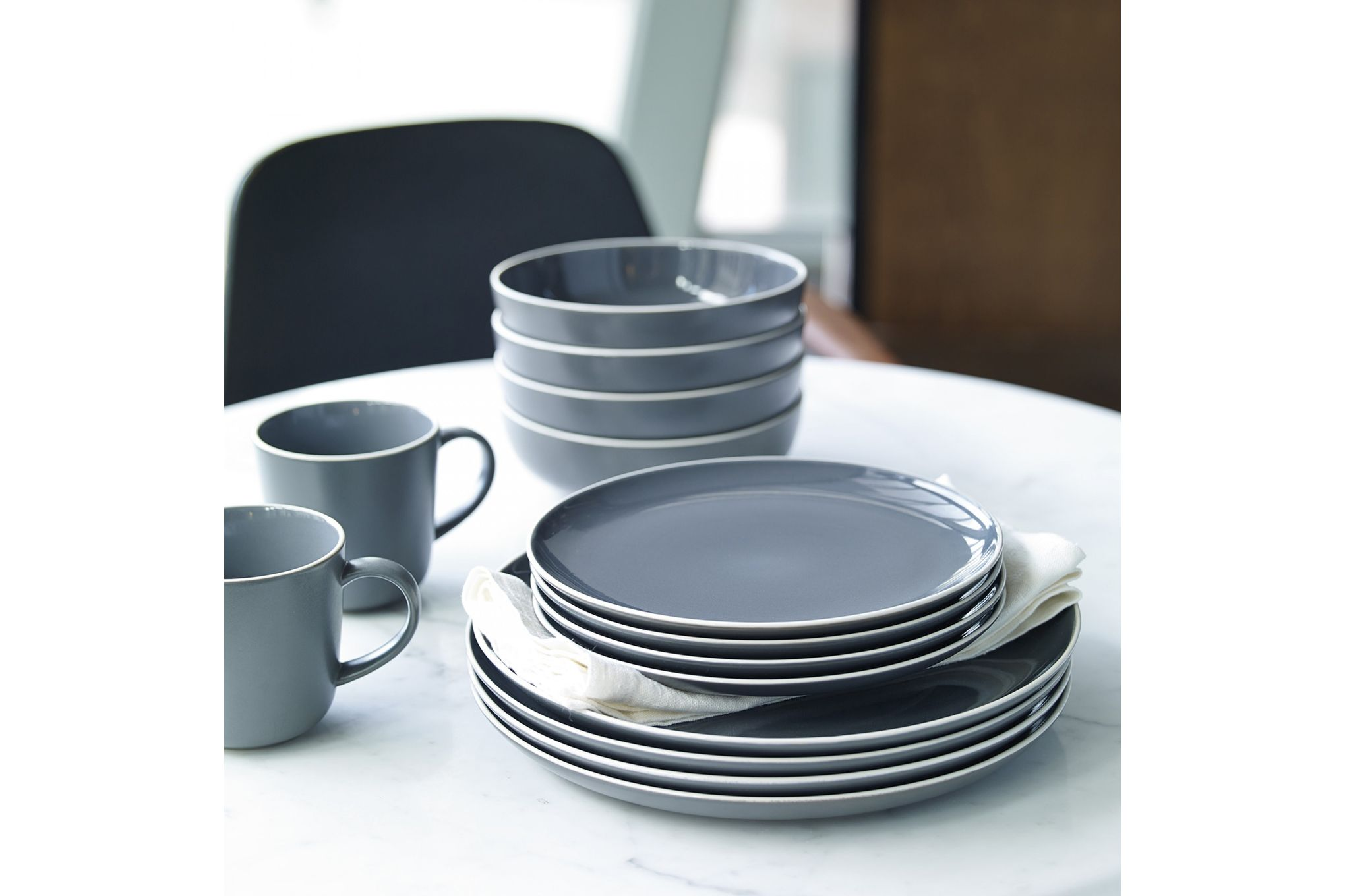 Gordon Ramsay for Royal Doulton Bread Street Slate 16 Piece Set 4 x Plate 28cm, Plate 22cm, Bowl 18cm, Mug thumb 2