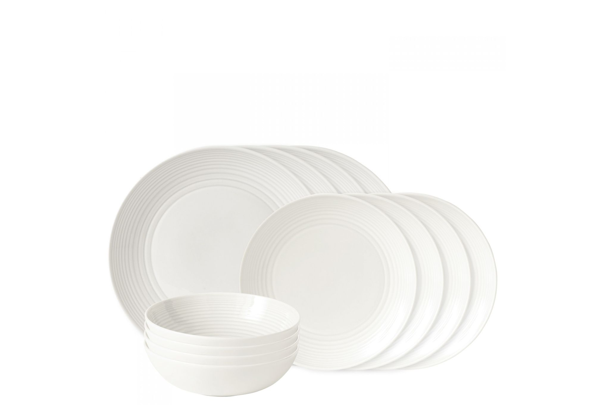 Gordon Ramsay for Royal Doulton Maze White 12 Piece Set 4 x Plate 28cm & 22cm, 4 x Bowl 18cm thumb 1