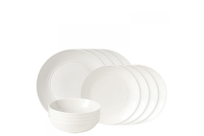 Gordon Ramsay for Royal Doulton Maze White 12 Piece Set 4 x Plate 28cm & 22cm, 4 x Bowl 18cm