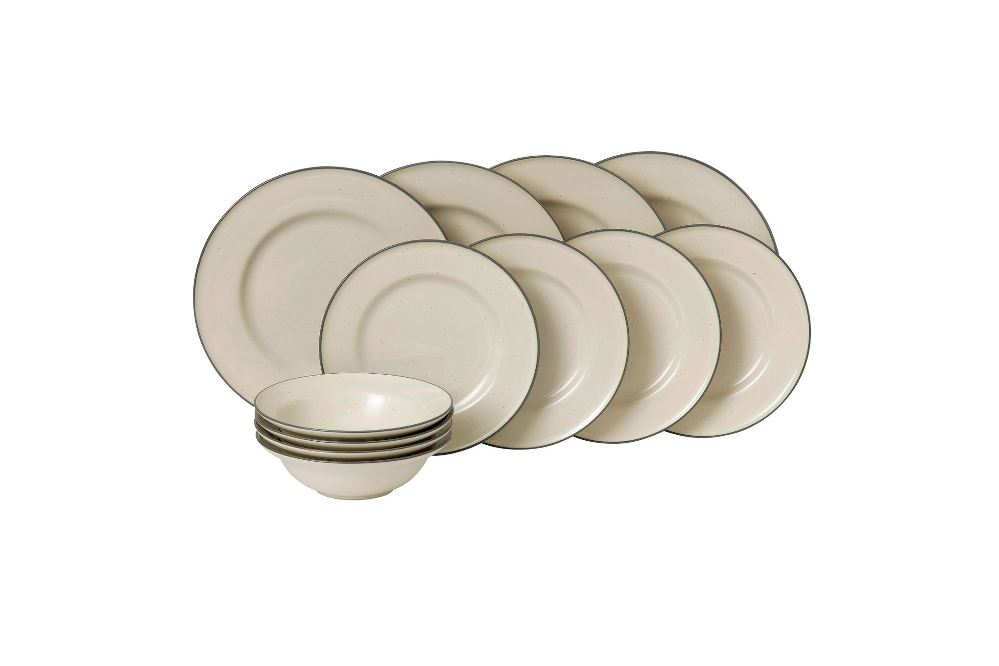 Gordon Ramsay for Royal Doulton Union Street Cream 12 Piece Set 4 x Plate 27cm, Plate 22cm, Bowl 18cm thumb 1