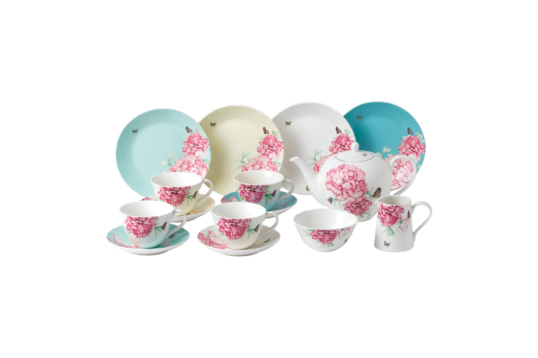 Miranda Kerr for Royal Albert Everyday Friendship 15 Piece Set Mixed Colours - 4 x Plate 20cm, Teacup & Saucers, Teapot, Sugar & Cream thumb 1