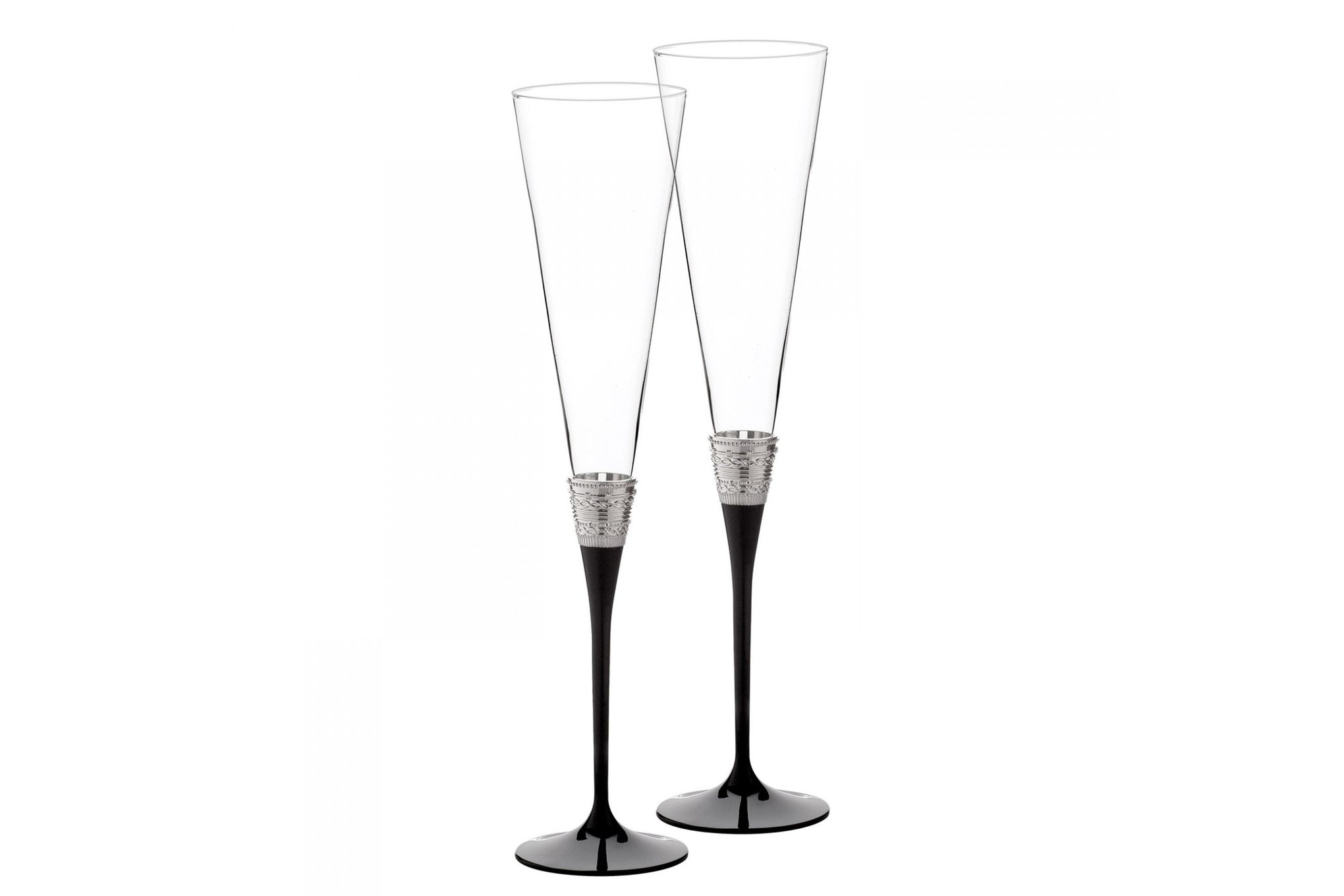 Vera Wang for Wedgwood Gifts & Accessories Toasting Flute Pair With Love Noir thumb 1