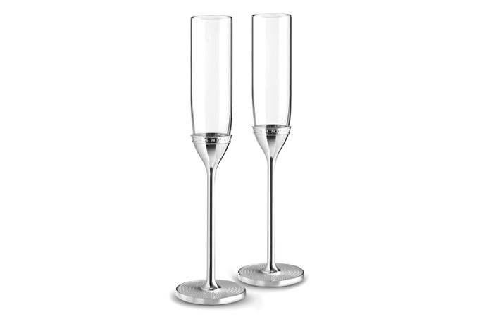 Vera Wang for Wedgwood With Love Nouveau Toasting Flute Pair Silver