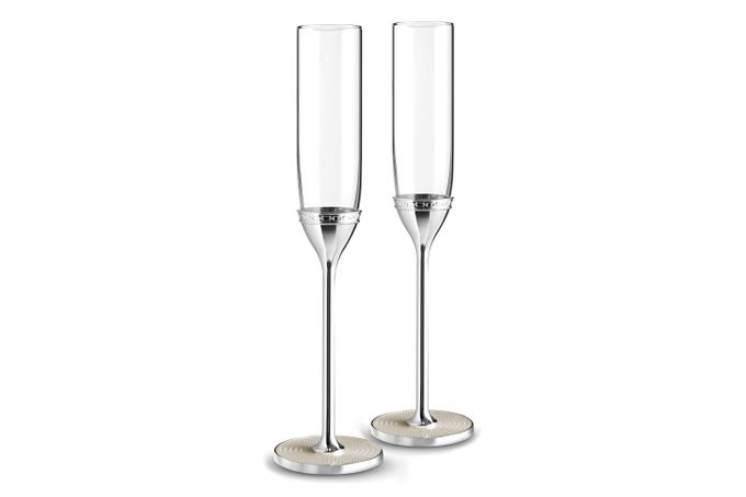 Vera Wang for Wedgwood With Love Nouveau Toasting Flute Pair Pearl