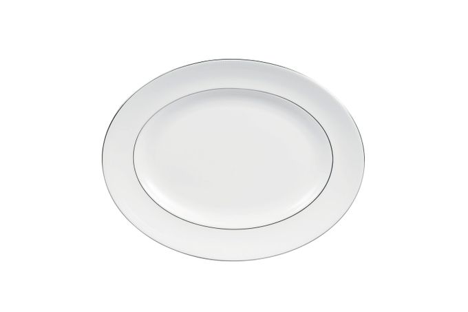 """Vera Wang for Wedgwood Blanc sur Blanc Oval Plate / Platter 14 1/8"""""""