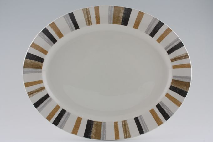 "Midwinter Queensbury Stripe Oval Plate / Platter 13 7/8"""