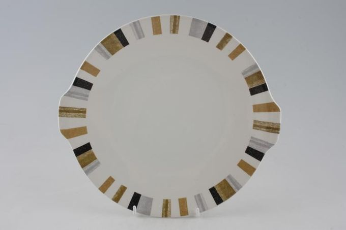 """Midwinter Queensbury Stripe Cake Plate Eared 10 3/8"""""""