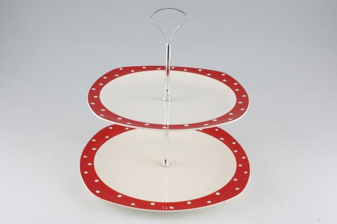 """Midwinter Red Domino Cake Stand 2 Tier 9 3/4 x 8 1/2"""""""