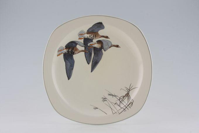 """Midwinter Wild Geese Dinner Plate Geese in top corner, reeds in bottom corner 9 3/4"""""""
