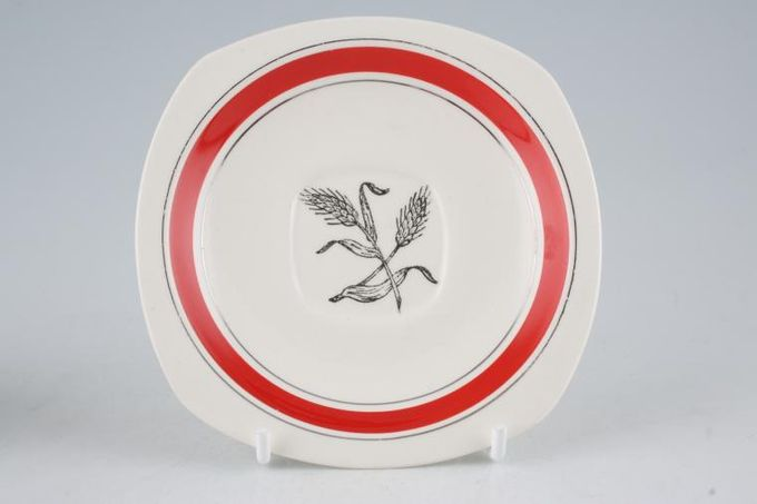 """Midwinter Silver Wheat - Red Coffee Saucer 4 3/4"""""""