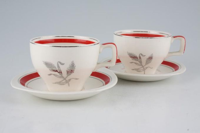 Midwinter Silver Wheat - Red Coffee Cans & Saucers - Set of 2