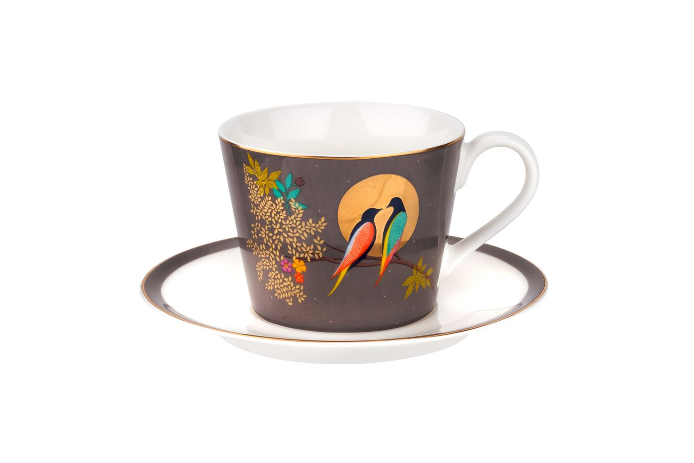 Sara Miller London for Portmeirion Chelsea Collection Teacup & Saucer Dark Grey 0.2l thumb 1
