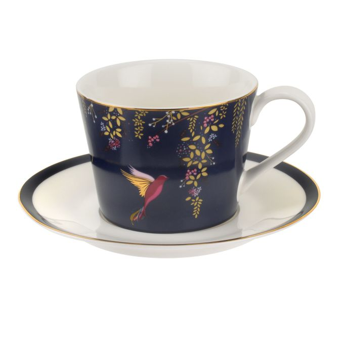 Sara Miller London for Portmeirion Chelsea Collection Teacup & Saucer Navy 0.2l