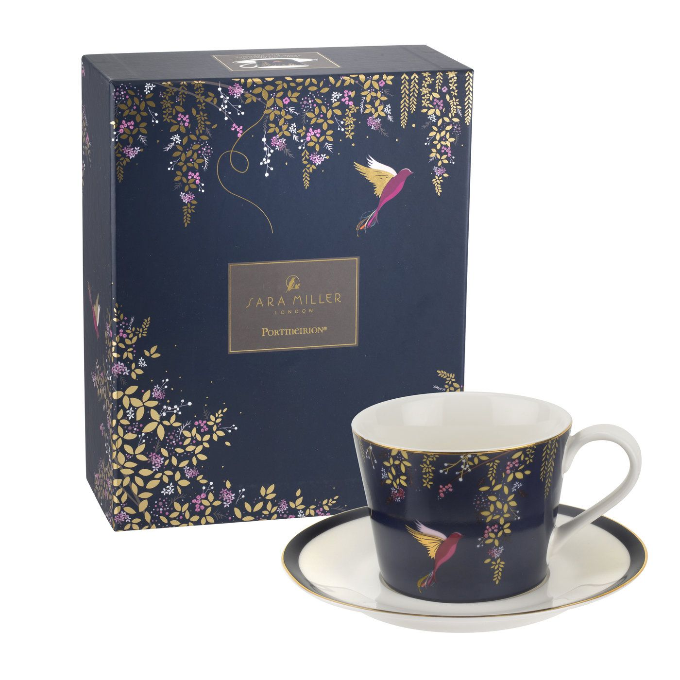 Sara Miller London for Portmeirion Chelsea Collection Teacup & Saucer Navy 0.2l thumb 2