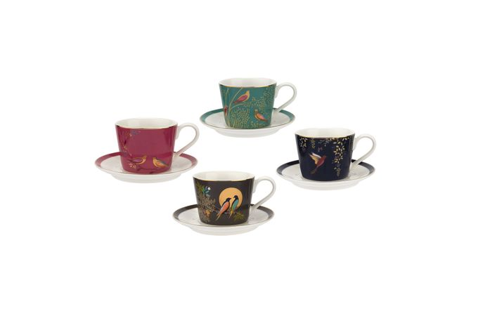 Sara Miller London for Portmeirion Chelsea Collection Espresso Cup & Saucer - Set of 4 0.11l