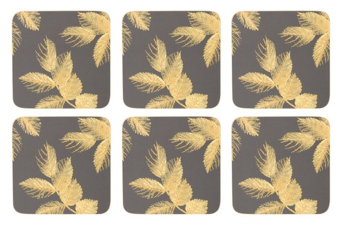 Sara Miller London for Portmeirion Etched Leaves Coasters - Set of 6 Dark Grey 10.5 x 10.5cm