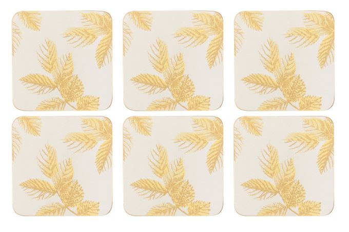 Sara Miller London for Portmeirion Etched Leaves Coasters - Set of 6 Light Grey