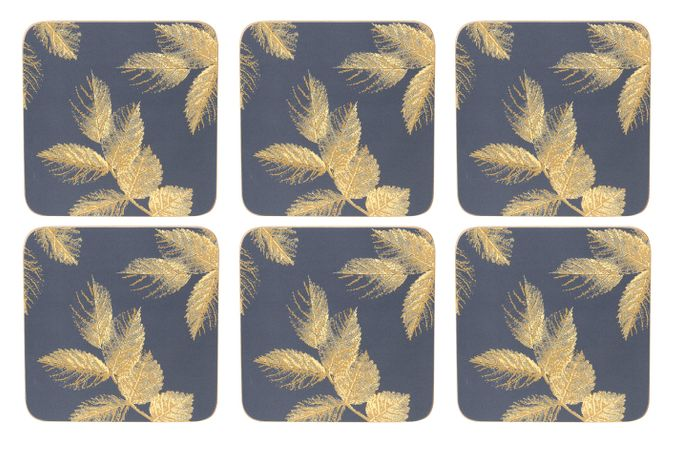 Sara Miller London for Portmeirion Etched Leaves Coasters - Set of 6 Navy 10.5 x 10.5cm