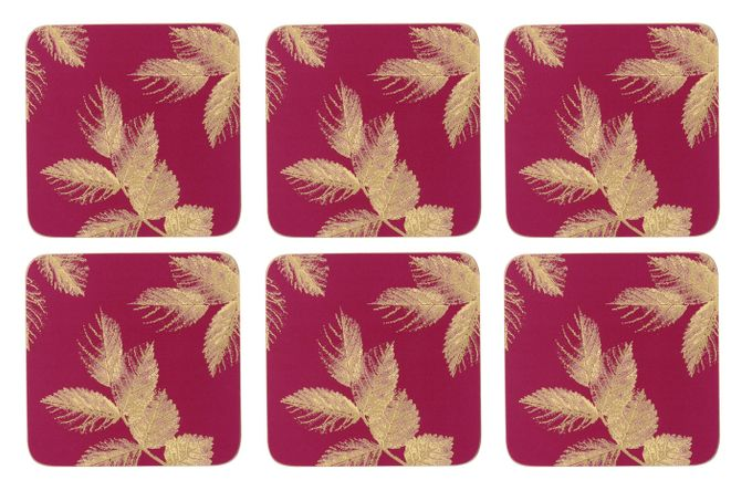 Sara Miller London for Portmeirion Etched Leaves Coasters - Set of 6 Pink 10.5 x 10.5cm