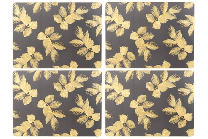 Sara Miller London for Portmeirion Etched Leaves Placemats - Set of 4 Dark Grey 30.5 x 23cm