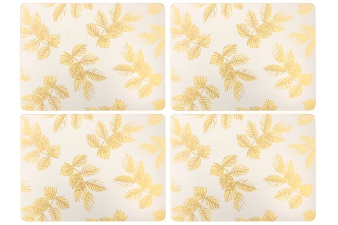 Sara Miller London for Portmeirion Etched Leaves Placemats - Set of 4 Light Grey 30.5 x 23cm
