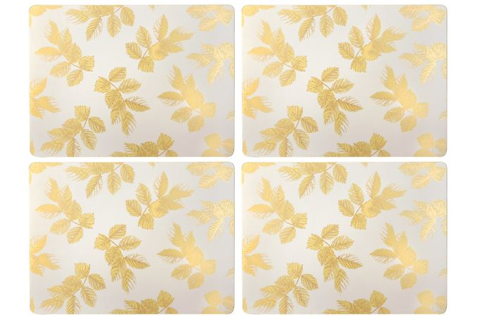 Sara Miller London for Portmeirion Etched Leaves Placemats - Set of 4 Light Grey 40.1 x 29cm