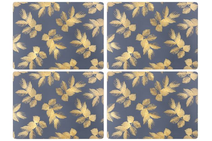Sara Miller London for Portmeirion Etched Leaves Placemats - Set of 4 Navy 30.5 x 23cm