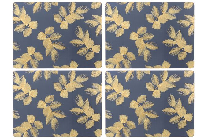 Sara Miller London for Portmeirion Etched Leaves Placemats - Set of 4 Navy 40.1 x 29cm