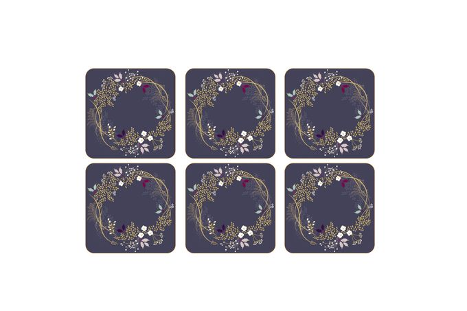 Sara Miller London for Portmeirion Garland Collection Coasters - Set of 6 10.5 x 10.5cm