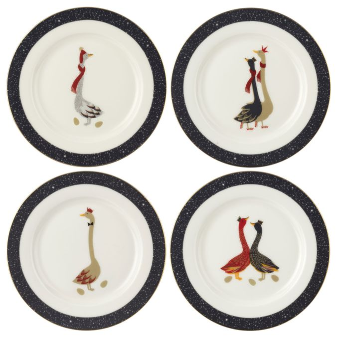 Sara Miller London for Portmeirion Geese Christmas Collection Side Plate - Set of 4 20cm