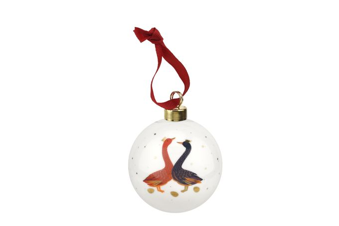 Sara Miller London for Portmeirion Geese Christmas Collection Bauble Red & Blue Geese