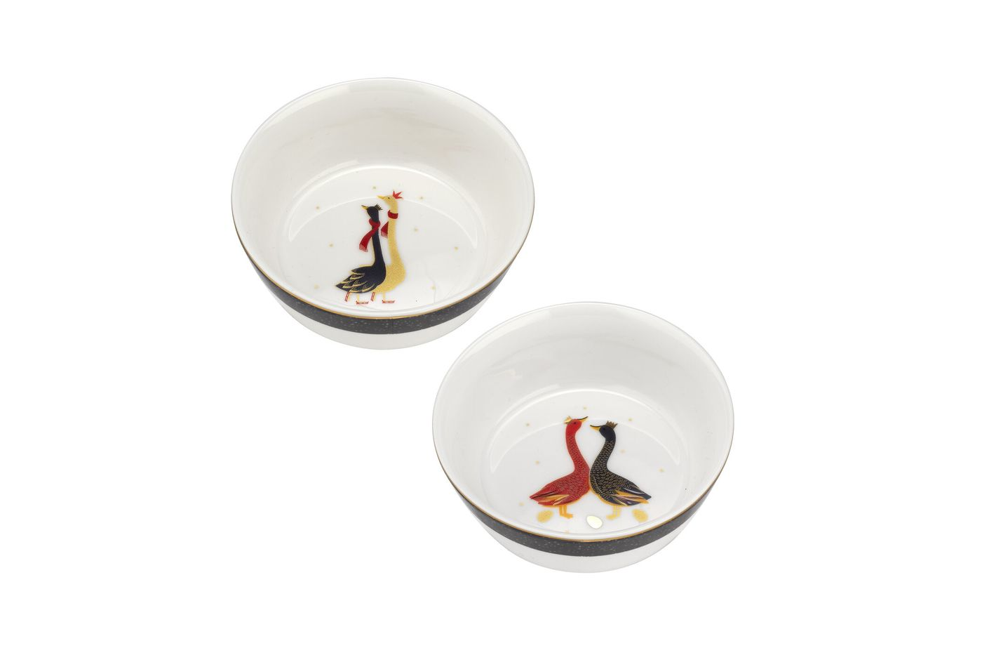 Sara Miller London for Portmeirion Geese Christmas Collection Set of 2 Bowls 10cm thumb 1