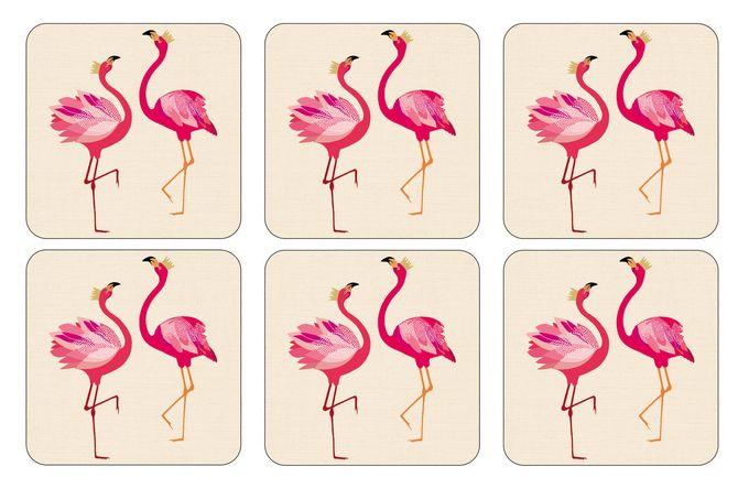 Sara Miller London for Portmeirion The Flamingo Collection Coasters - Set of 6 10.5 x 10.5cm