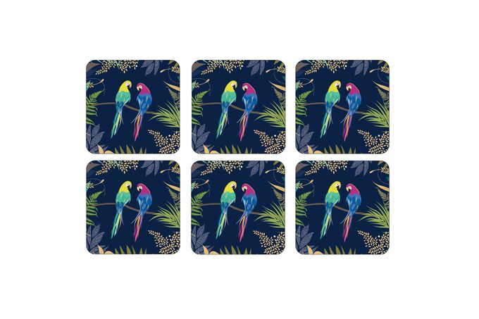 Sara Miller London for Portmeirion The Parrot Collection Coasters - Set of 6 10.5 x 10.5cm