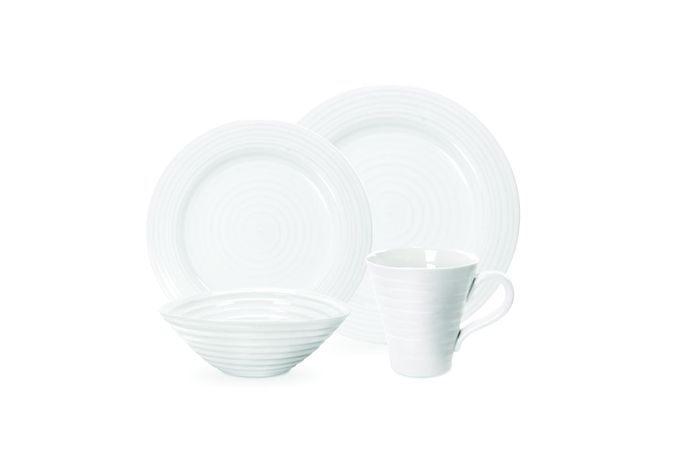 "Sophie Conran for Portmeirion White 4 Piece Place Setting Dinner 11"", Side 8"",Bowl 7 1/2"", Mug 12.5oz Boxed Set"