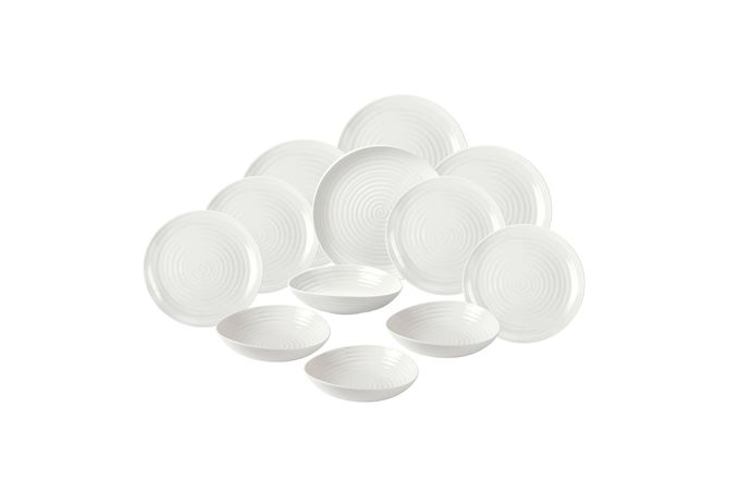 "Sophie Conran for Portmeirion White 12 Piece Set 4 x 27cm/10.5"" Coupe Plate, 4 x 22cm/8.5"" Coupe Plate, 4 x 20cm/8"" Bowl"