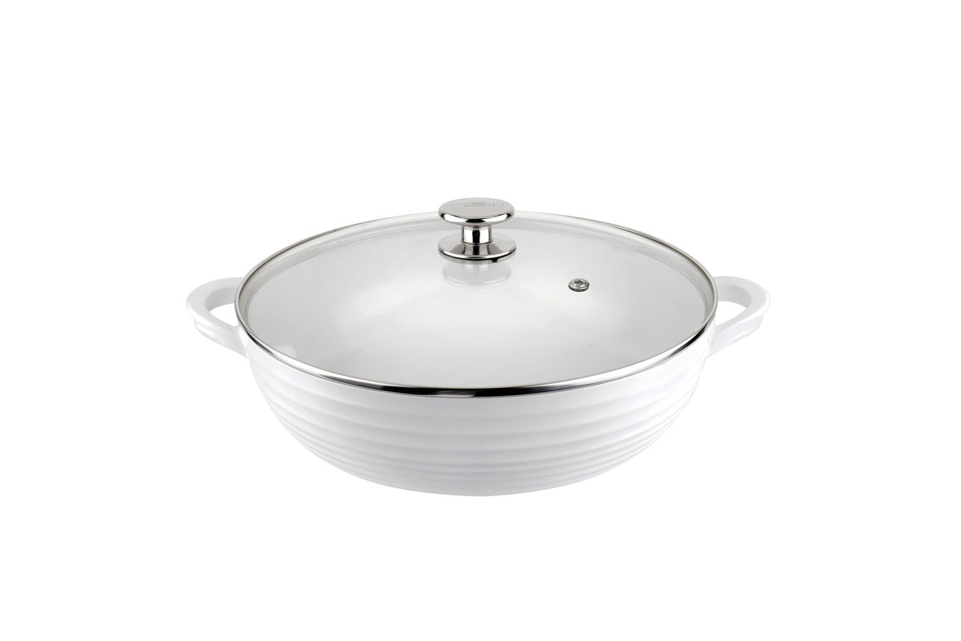 Sophie Conran for Portmeirion Cookware Casserole Dish + Lid Shallow - White. Metal body with ceramic coating. thumb 1