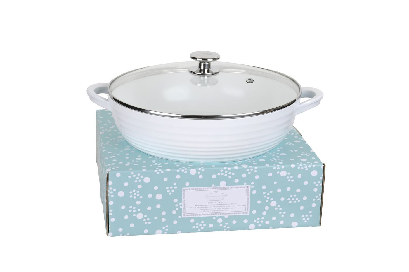Sophie Conran for Portmeirion Cookware Casserole Dish + Lid Shallow - White. Metal body with ceramic coating. thumb 2