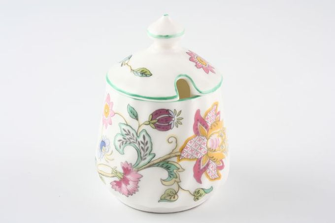 Minton Haddon Hall - Green Edge Mustard Pot + Lid