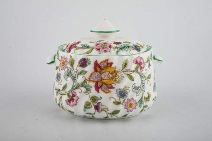 "Minton Haddon Hall - Green Edge Sugar Bowl - Lidded (Coffee) 3 1/2"""